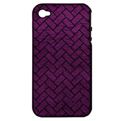 Brick2 Black Marble & Purple Leather Apple Iphone 4/4s Hardshell Case (pc+silicone) by trendistuff