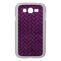 Brick2 Black Marble & Purple Leather Samsung Galaxy Grand Duos I9082 Case (white) by trendistuff