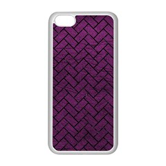Brick2 Black Marble & Purple Leather Apple Iphone 5c Seamless Case (white) by trendistuff