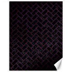 Brick2 Black Marble & Purple Leather (r) Canvas 12  X 16   by trendistuff