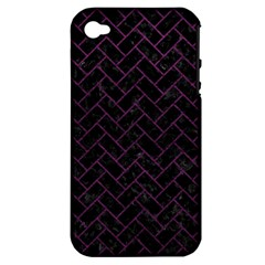 Brick2 Black Marble & Purple Leather (r) Apple Iphone 4/4s Hardshell Case (pc+silicone) by trendistuff