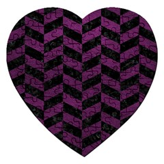 Chevron1 Black Marble & Purple Leather Jigsaw Puzzle (heart) by trendistuff