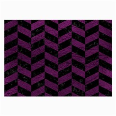 Chevron1 Black Marble & Purple Leather Large Glasses Cloth by trendistuff
