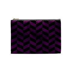 Chevron1 Black Marble & Purple Leather Cosmetic Bag (medium)  by trendistuff