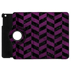 Chevron1 Black Marble & Purple Leather Apple Ipad Mini Flip 360 Case by trendistuff