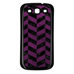 Chevron1 Black Marble & Purple Leather Samsung Galaxy S3 Back Case (black) by trendistuff