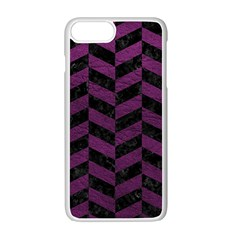 Chevron1 Black Marble & Purple Leather Apple Iphone 7 Plus White Seamless Case by trendistuff