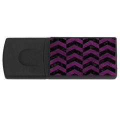 Chevron2 Black Marble & Purple Leather Rectangular Usb Flash Drive by trendistuff