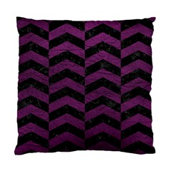 Chevron2 Black Marble & Purple Leather Standard Cushion Case (one Side) by trendistuff
