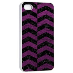 Chevron2 Black Marble & Purple Leather Apple Iphone 4/4s Seamless Case (white) by trendistuff