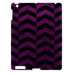 Chevron2 Black Marble & Purple Leather Apple Ipad 3/4 Hardshell Case by trendistuff