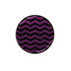 Chevron3 Black Marble & Purple Leather Hat Clip Ball Marker (10 Pack) by trendistuff