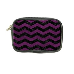 Chevron3 Black Marble & Purple Leather Coin Purse by trendistuff