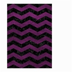 Chevron3 Black Marble & Purple Leather Small Garden Flag (two Sides) by trendistuff