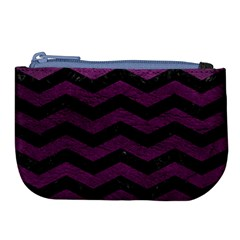 Chevron3 Black Marble & Purple Leather Large Coin Purse by trendistuff