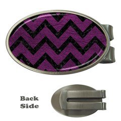 Chevron9 Black Marble & Purple Leather Money Clips (oval)  by trendistuff