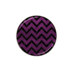 Chevron9 Black Marble & Purple Leather Hat Clip Ball Marker by trendistuff