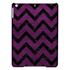 Chevron9 Black Marble & Purple Leather Ipad Air Hardshell Cases by trendistuff