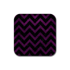 Chevron9 Black Marble & Purple Leather (r) Rubber Square Coaster (4 Pack)