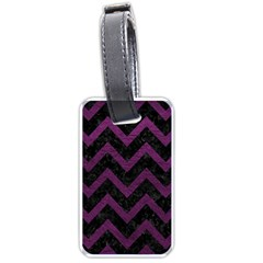 Chevron9 Black Marble & Purple Leather (r) Luggage Tags (one Side)  by trendistuff