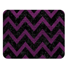 Chevron9 Black Marble & Purple Leather (r) Double Sided Flano Blanket (large)  by trendistuff