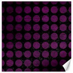 Circles1 Black Marble & Purple Leather (r) Canvas 16  X 16   by trendistuff