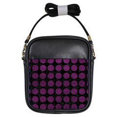 Circles1 Black Marble & Purple Leather (r) Girls Sling Bags by trendistuff
