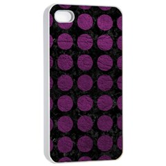 Circles1 Black Marble & Purple Leather (r) Apple Iphone 4/4s Seamless Case (white) by trendistuff