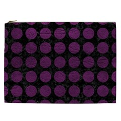 Circles1 Black Marble & Purple Leather (r) Cosmetic Bag (xxl)  by trendistuff