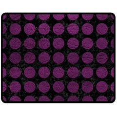 Circles1 Black Marble & Purple Leather (r) Double Sided Fleece Blanket (medium)  by trendistuff