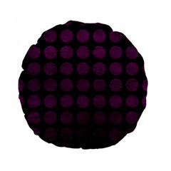 Circles1 Black Marble & Purple Leather (r) Standard 15  Premium Flano Round Cushions by trendistuff