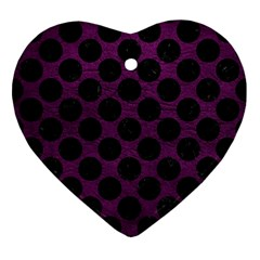 Circles2 Black Marble & Purple Leather Ornament (heart) by trendistuff