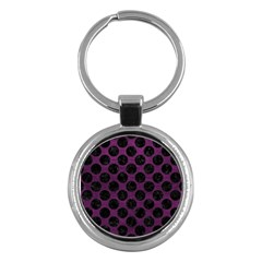 Circles2 Black Marble & Purple Leather Key Chains (round)  by trendistuff