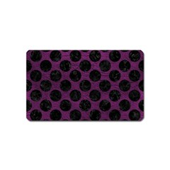 Circles2 Black Marble & Purple Leather Magnet (name Card) by trendistuff