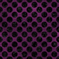 Circles2 Black Marble & Purple Leather Magic Photo Cubes by trendistuff