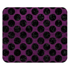 Circles2 Black Marble & Purple Leather Double Sided Flano Blanket (small)  by trendistuff