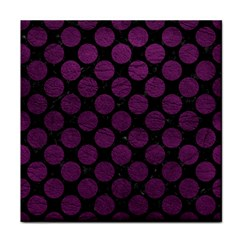 Circles2 Black Marble & Purple Leather (r) Tile Coasters by trendistuff