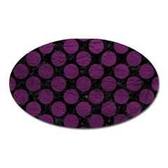 Circles2 Black Marble & Purple Leather (r) Oval Magnet by trendistuff
