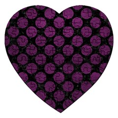 Circles2 Black Marble & Purple Leather (r) Jigsaw Puzzle (heart) by trendistuff