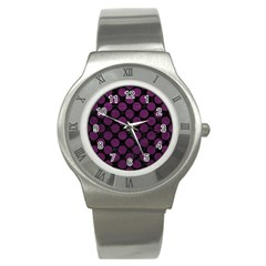 Circles2 Black Marble & Purple Leather (r) Stainless Steel Watch by trendistuff