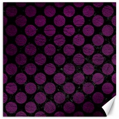 Circles2 Black Marble & Purple Leather (r) Canvas 16  X 16   by trendistuff