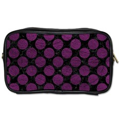 Circles2 Black Marble & Purple Leather (r) Toiletries Bags 2 Side by trendistuff