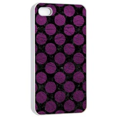 Circles2 Black Marble & Purple Leather (r) Apple Iphone 4/4s Seamless Case (white) by trendistuff