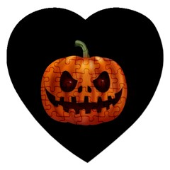 Halloween Pumpkin Jigsaw Puzzle (heart) by Valentinaart