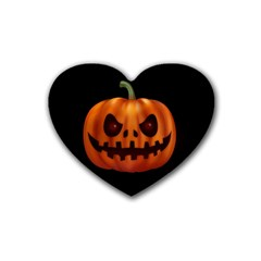 Halloween Pumpkin Rubber Coaster (heart)  by Valentinaart