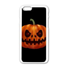 Halloween Pumpkin Apple Iphone 6/6s White Enamel Case by Valentinaart