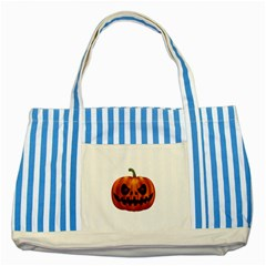 Halloween Pumpkin Striped Blue Tote Bag by Valentinaart