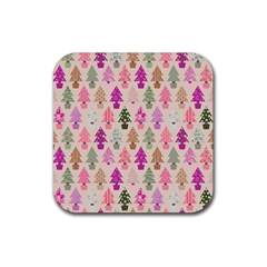 Christmas Tree Pattern Rubber Coaster (square)  by Valentinaart