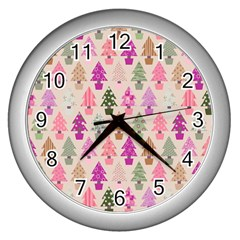 Christmas Tree Pattern Wall Clocks (silver)  by Valentinaart