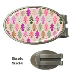 Christmas Tree Pattern Money Clips (oval)  by Valentinaart